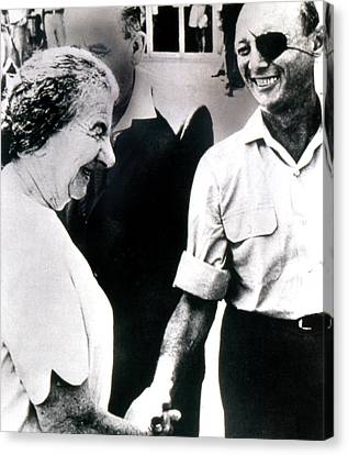 Moshe Dayan R., With Golda Meir Ca. 1970 Canvas Print by Everett