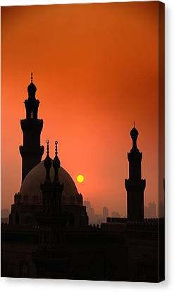 Mosques And Sunset In Cairo, Egypt Canvas Print by Glen Allison