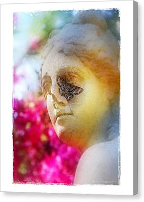Moth On Statue Canvas Print by Judi Bagwell