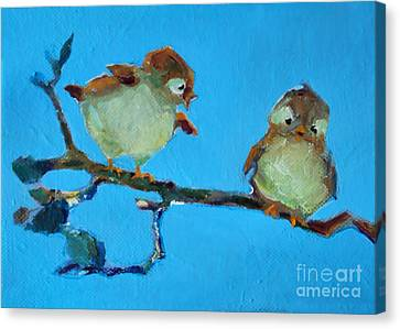 Mother And Baby Bird Canvas Print by Diane Ursin