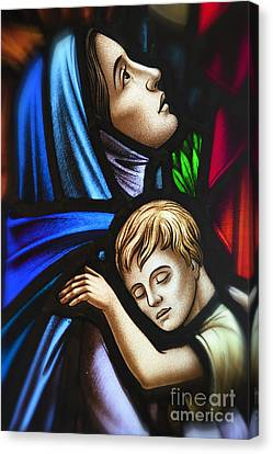 Mother And Child Stained Glass Canvas Print