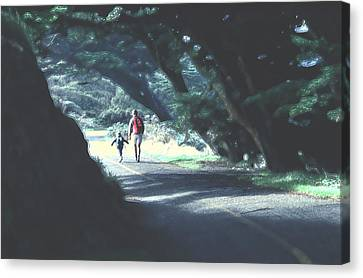 Canvas Print featuring the photograph Mother And Child Walking Through Point Reyes Park by Tom Wurl