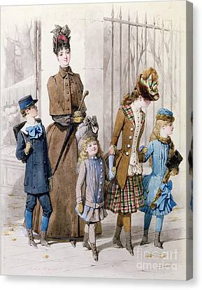 Mother And Children In Walking Dress  Canvas Print by Jules David