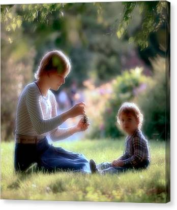 Mother And Kid Canvas Print by Juan Carlos Ferro Duque