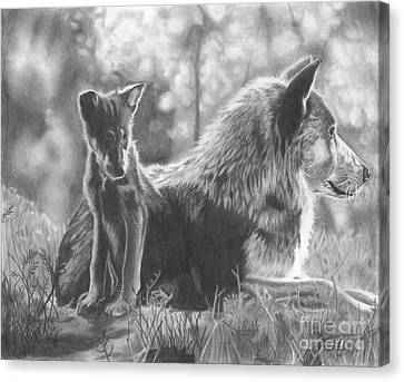 Mother And Pup Canvas Print