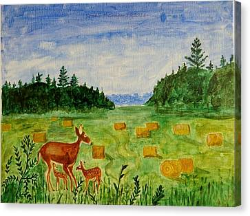 Canvas Print featuring the painting Mother Deer And Kids by Sonali Gangane