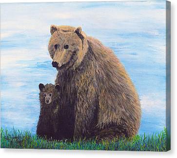 Canvas Print featuring the painting Mother Love  Two by Stuart B Yaeger