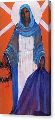 Mother Mary In Sorrow Canvas Print by Mary DuCharme