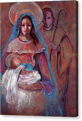 Mother Mary With Joseph And Jesus Baby Canvas Print by Mary DuCharme