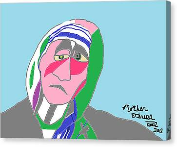 Canvas Print featuring the painting Mother Teresa by Anita Dale Livaditis