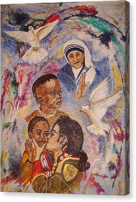 Mother Theresa And Michael Jackson For The Lost Children Canvas Print by Jocelyne Beatrice Ruchonnet
