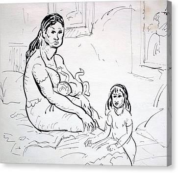 Mother With Children Canvas Print by Bill Joseph  Markowski
