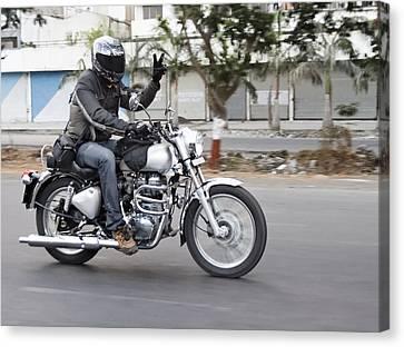 Motorbiker Peace Canvas Print by Kantilal Patel