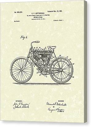 Motorcycle 1901 Patent Art Canvas Print by Prior Art Design