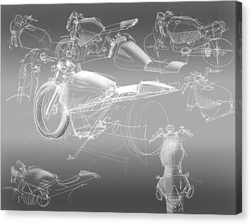 Motorcycle Concept Sketches Canvas Print by Jeremy Lacy