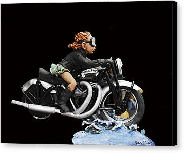 Motorcycle Girl Canvas Print by Sidney Dumas