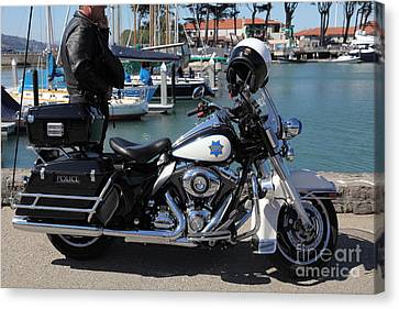 Motorcycle Police At The San Francisco Marina - 5d18266 Canvas Print by Wingsdomain Art and Photography