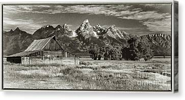 Moulton Barn And The Grand Tetons Canvas Print by Sandra Bronstein