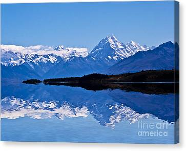 Mount Cook With Reflection Canvas Print by Avalon Fine Art Photography