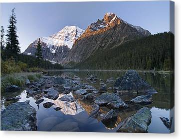 Mount Edith Cavell, Cavell Lake, Jasper Canvas Print by Philippe Widling