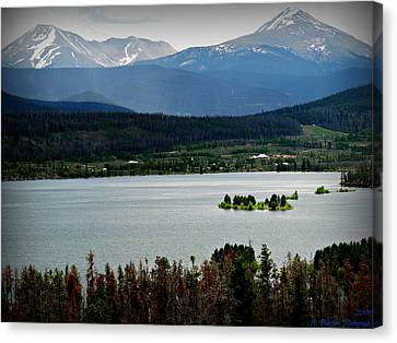 Mount Guyot And Bald Mountain Over Dillon Reservoir Canvas Print