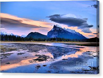 Mount Rundle In The Evening Canvas Print by Tara Turner