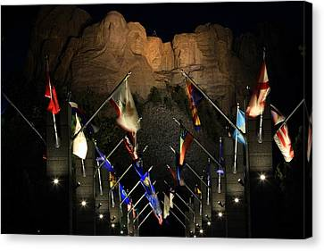 Canvas Print featuring the photograph Mount Rushmore By Night by Paul Svensen