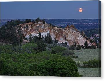 Mount Saint Francis And The Super Moon Canvas Print by Andrew Serff