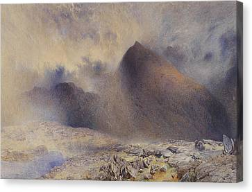 Mount Snowdon Through Clearing Clouds Canvas Print by Alfred William Hunt