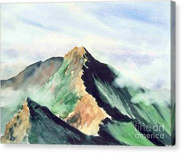 Canvas Print featuring the painting Mountain  1 by Yoshiko Mishina