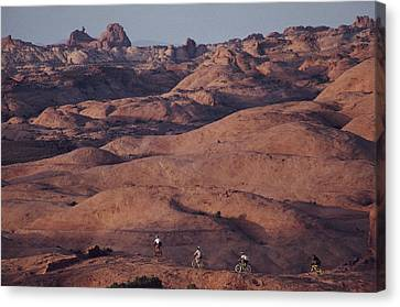 Mountain Bike Riders On Slickrock Trail Canvas Print