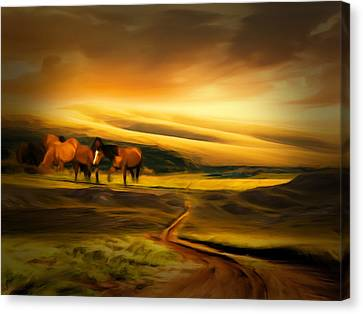 Horse Lover Canvas Print - Mountain Horses by Lourry Legarde