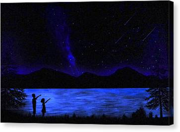Mountain Lake Glow In The Dark Mural Canvas Print by Frank Wilson