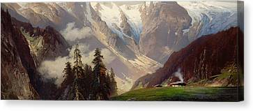 Mountain Landscape With The Grossglockner Canvas Print by Nicolai Astudin