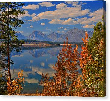 Mountain Reflections In Autumn Grand Tetons Canvas Print