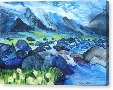 Mountain River Canvas Print by Anna  Henderson