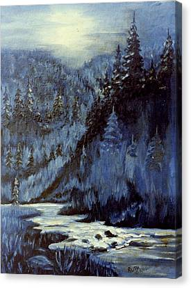 Mountain Stream In Moonlight Canvas Print