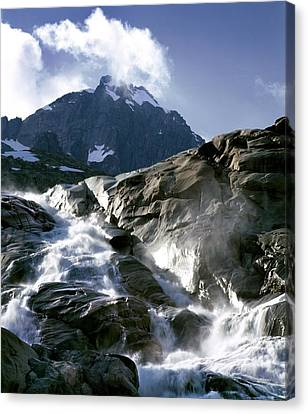 Mountain Stream, Swiss Alps Canvas Print by Martin Bond