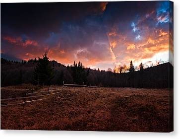 Mountain Sunrise Canvas Print by Irinel Cirlanaru