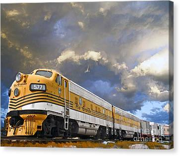 Mountain Train Canvas Print by Jerry L Barrett