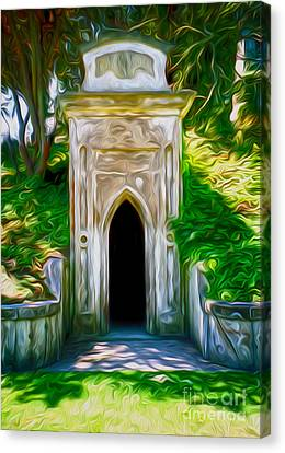 Canvas Print featuring the painting Mountain View Cemetery Tomb - Number 4 by Gregory Dyer