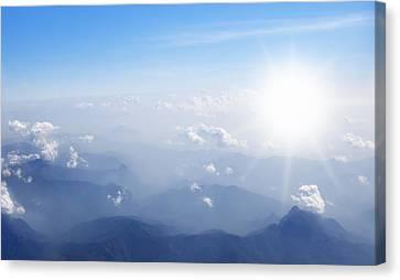 Mountain With Blue Sky And Clouds Canvas Print by Setsiri Silapasuwanchai