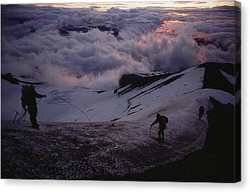 Mountaineers Cross A Snow Crusted Ridge Canvas Print by Sam Abell