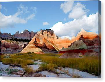 Mountains And Sky In Badlands National Park Canvas Print by Elaine Plesser