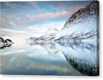 Mountains In Fjord Canvas Print by Sandra Kreuzinger