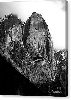 Mountains Of Yosemite . 7d6167 . Vertical Cut . Black And White Canvas Print by Wingsdomain Art and Photography