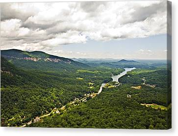 Mountains With Lake In The Valley Canvas Print by Susan Leggett