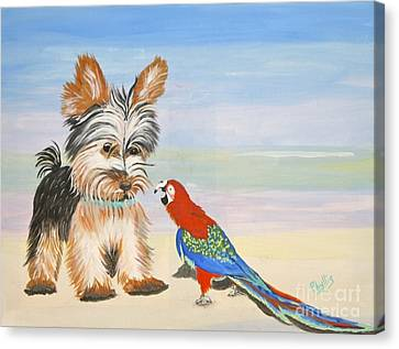 Mouthy Parrot Canvas Print by Phyllis Kaltenbach