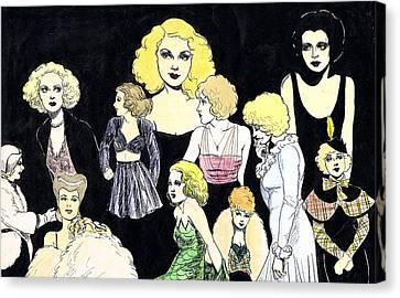 Movie Ladies Montage Canvas Print by Mel Thompson