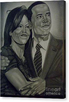 Michelle-obama Canvas Print - Mr. And Mrs. Obama by Handy